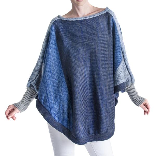 Muk Luks Women's Blue Poncho