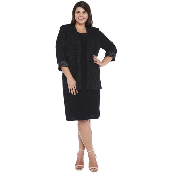 R&M Richards Plus Size Glitter Slinky Jacket Dress