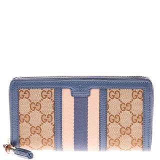 Gucci Rania Original GG Canvas Zip Around Wallet