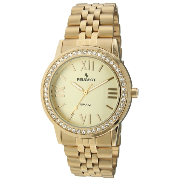 Peugeot Women's Swarovski Crystal Goldtone Stainless Steel Watch