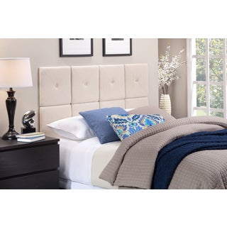 Foremost Tessa Headboard Tiles with X Seam and Tuft in Natural Linen