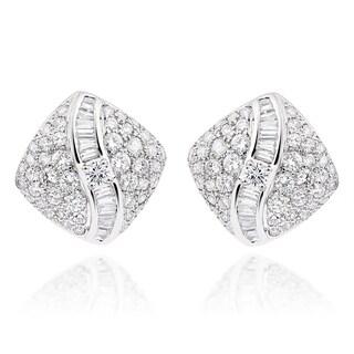 18k White Gold 4.5ct TDW Diamond Square Stud Earrings (F-G, VS1-VS2)