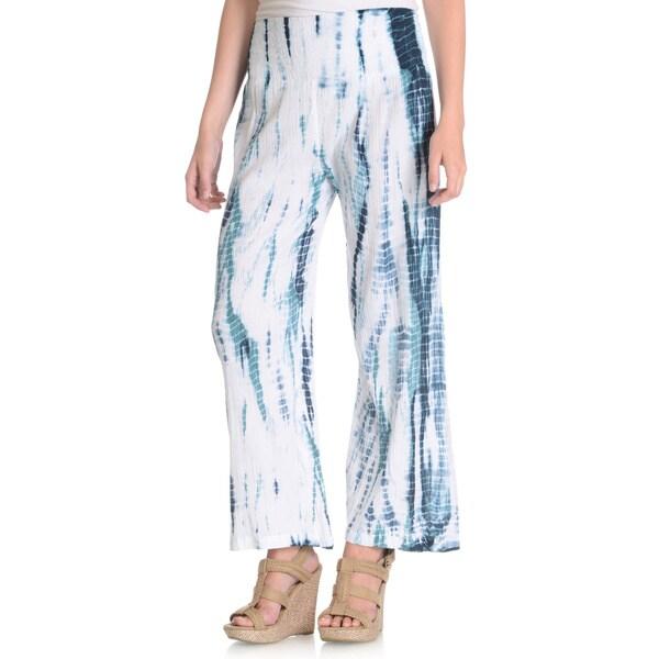 La Cera Women's Blue/ White Tie Dye Crinkle Pants