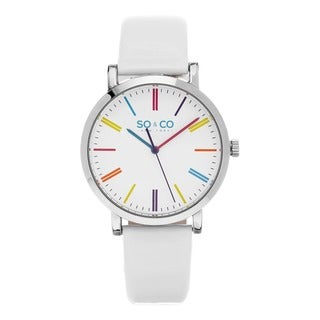 SO&CO New York Quartz SoHo Colorful Dial White Leather Strap Watch
