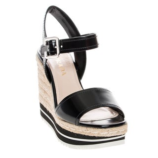 Prada Spazzolato Leather and Jute Wedge Sandals