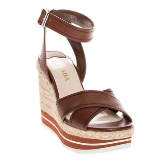 Prada Leather Ankle Strap Wedge Sandals