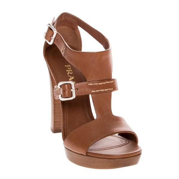 Prada Platform Brown Leather Buckle High Heel Sandals