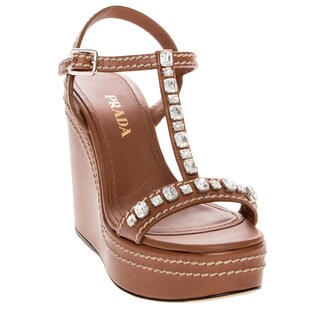 Prada Rhinestone Embellished Wedge Leather Sandals