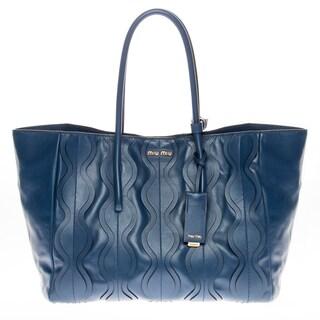 Miu Miu Vitello Ruches Blue Shopping Bag