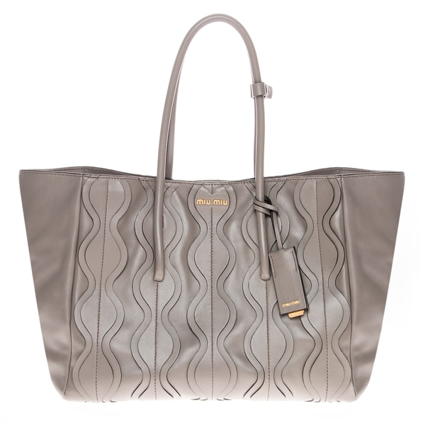 Miu Miu Vitello Ruches Grey Shopping Bag