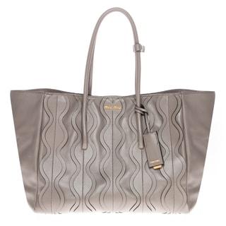 Miu Miu Vitello Ruches Grey Shopping Bag