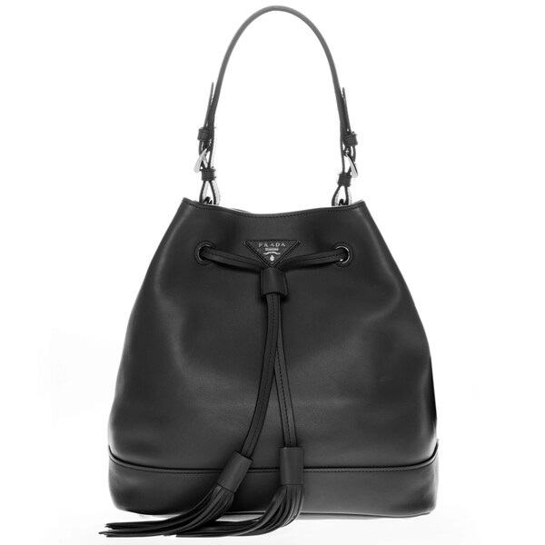 Prada Black Soft Leather Bucket Bag