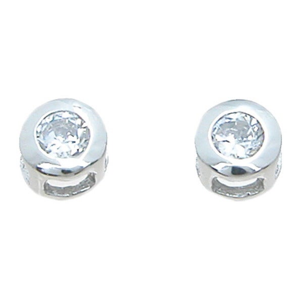 Sterling Silver Rhodium Finish Cubic Zirconia Brilliant Stud Earrings