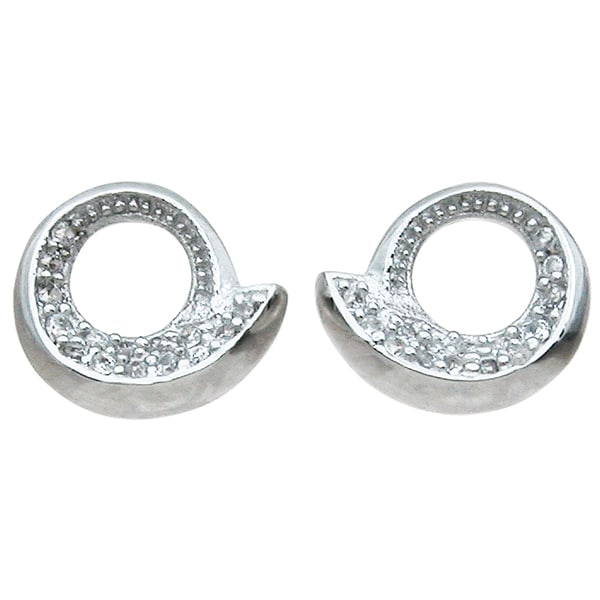 Sterling Silver Round-cut Cubic Zirconia Open Circle Stud Earrings
