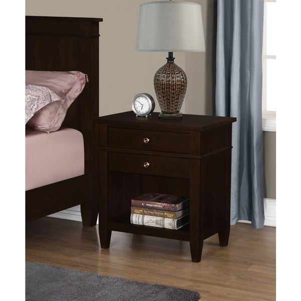 Wyndenhall Sterling Bedside Table in Tobacco Brown
