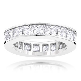 Luxurman 14k White Gold 4 1/3ct Princess-cut Diamond Eternity Band (G-H, VS1-VS2)