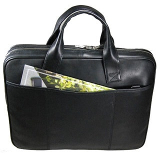 Castello Italian Oily Pull-Up Leather Top Zip Briefcase