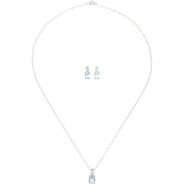 Sterling Silver Genuine Blue Topaz Earrings and Pendant Set