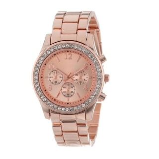 Women's Rose Gold Cubic Zirconia Chronograph Style Boyfriend Watch