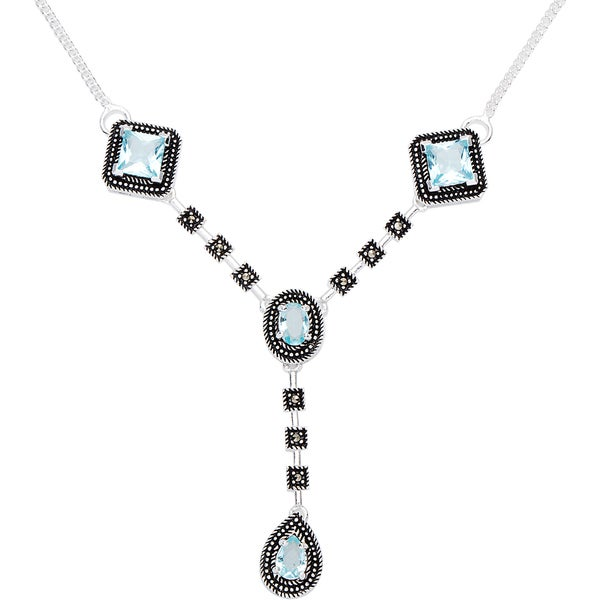 Silverplated Marcasite and Aqua Glass Stone Necklace