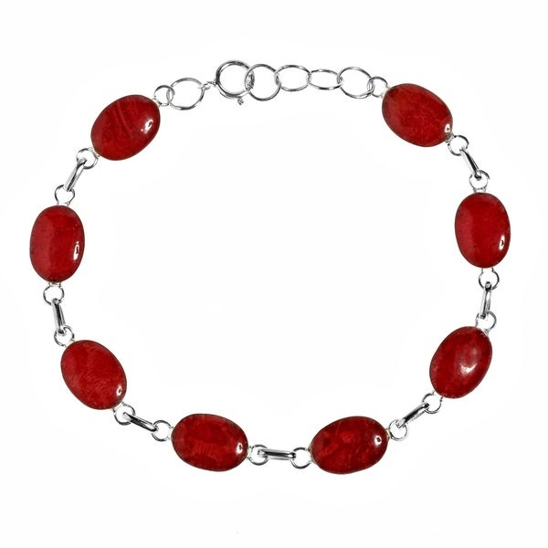 Strong Vocals Red Coral Link .925 Silver Stone Bracelet (Thailand)