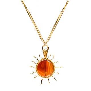 Bright Sun Orange Agate Handmade Brass Chain Necklace (Philippines)