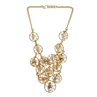 Floating Circular Web Pink Pearl Statement Brass Necklace (Philippines)