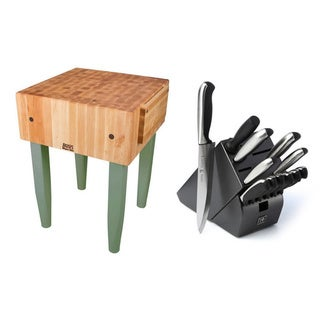 John Boos 24-inch Basil Butcher Block Table with Casters and J.A. Henckels 13-piece Knife Set