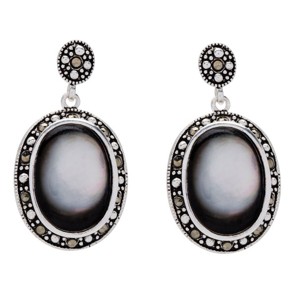 Silverplated Grey Shell and Marcasite Drop Earrings