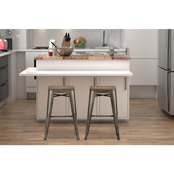 Avenue Greene Fusion 24 Inch Metal Backless Counter Stool
