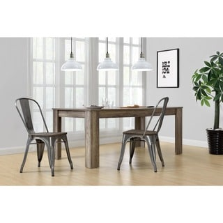 DHP Fusion Metal Dining Chair with Wood Seat, Set of 2