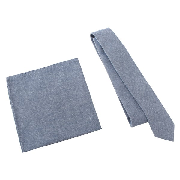 Skinny Tie Madness Men's 'Fickle Pickle' Navy Skinny Tie with Pocket Square
