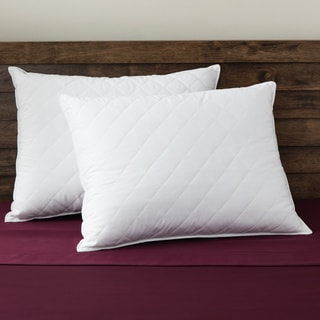 SwissLux Quilted Memory Loft European Styled Memory Foam and Fiber Bed Pillows (Set of 2)