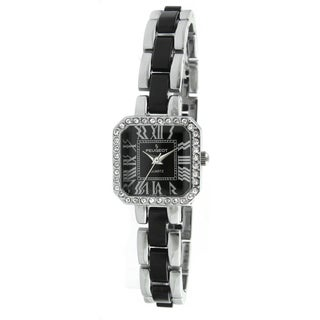 Peugeot Women's Acrylic Link Crystal Accented Silvertone Black Watch