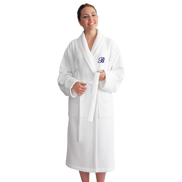 Authentic Hotel Spa Unisex Navy Blue Monogrammed Turkish Cotton Waffle Weave Terry Bath Robe