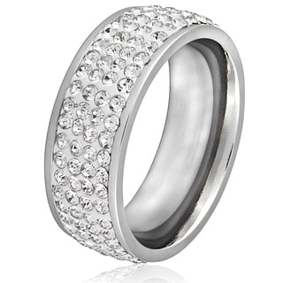 Women's Stainless Steel Clear Crystal Ring