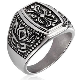 Crucible Stainless Steel Fleur de Lis Cast Ring