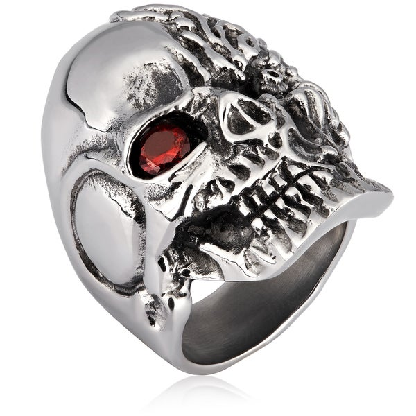 Crucible Stainless Steel Two Faced Skull with Cubic Zirconia Ring