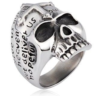 Crucible Stainless Steel Cross and Prayer Skull Cast Ring