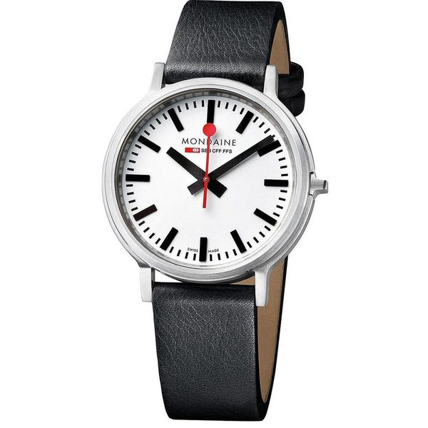 Mondaine Unisex Black Leather Stop2Go Watch A5123035816SBB