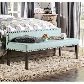 Furniture of America Simone Flax Upholstered 64-inch Backed Accent Bench