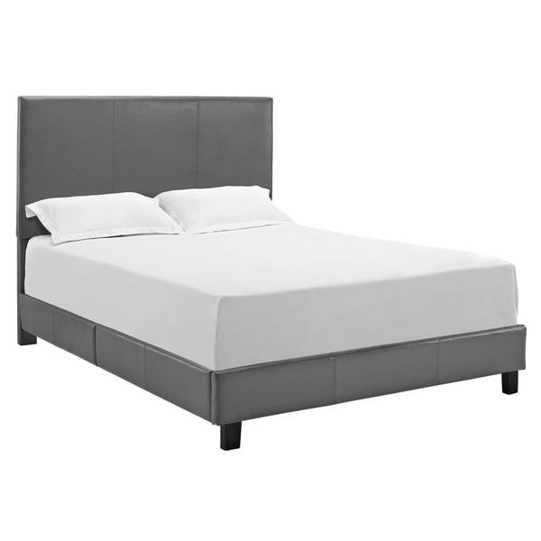 Jaide Grey Faux Leather Queen Platform Bed