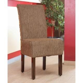 International Caravan 'Philip' Tan Upholstered Abaca Weave Dining Chairs with Mahogany Hardwood Frame (Set of 2)