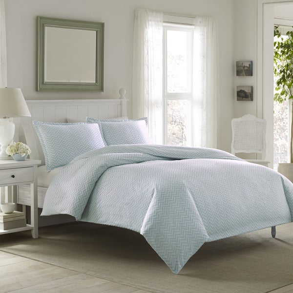 Laura Ashley Chevron Flannel Duvet Cover Set