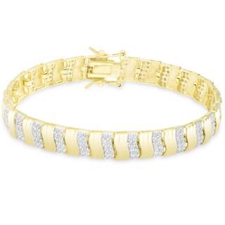 Finesque Gold Over Sterling Silver 2 1/2 ct TDW Diamond Stripe Design Bracelet