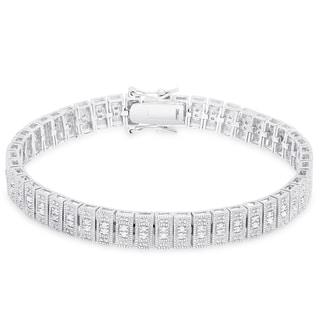 Finesque Sterling Silver 1 ct TDW Diamond Bracelet