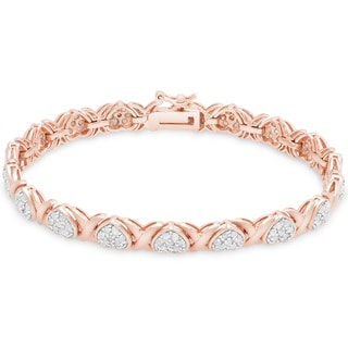 Finesque Gold over Silver or Sterling Silver 2 ct TDW Diamond XO Bracelet