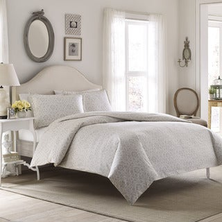 Laura Ashley Jayden Gray Flannel 3-piece Duvet Cover Set