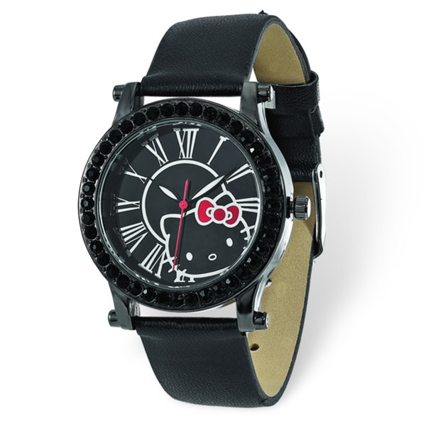 Hello Kitty Women's Black Dial Crystal Bezel Black Faux Leather Watch
