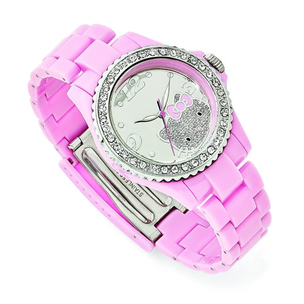 Hello Kitty Women's Silvertone Dial Crystal Bezel Pink Acrylic Watch